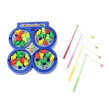 Fishing Game Board Electric Rotating Magnetic Fish Kids Music Educational Pretends Play Toy(China)