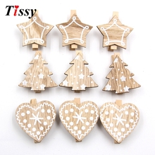 20PCS Heart&Star&Tree White Wooden Clips Photo Clips Clothespin Clips DIY Craft Home Christmas/Wedding Party Decoration Supplies(China)