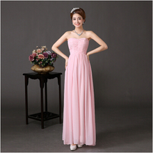 woman cheap chiffon gown dress woman long sleeveless formal pink simple arty evening dresses 2017 elegant for wedding W1739