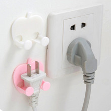1pc 4.5*4cm Multifunction Finishing Plug Holder Sticky Hooks plastic Wall Mounted Type Rack Pink White 427