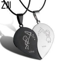 1 Pair Couple Necklace Broken Heart Necklaces & Pendants Lovers Necklace Jewelry Stainless Steel Valentine's Day Gift Necklace(China)
