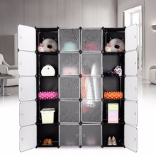 LANGRIA 20-Cube Curly Patterned Black Interlocking Modular Storage Organizer Shelving System Closet Wardrobe Rack For Home Use(China)
