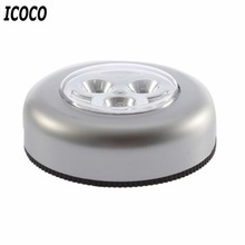 ICOCO 3 Colors Round Cordless Kids Touch Lamp 3 LED Battery Powered Stick Tap Touch Light Lamp Home Night Light Bulb