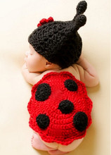 Cute Baby Photo Clothing Toddler Kids Infant Ladybug Costume Newborn Photography Props Knit Crochet Animal Dresses For Sale