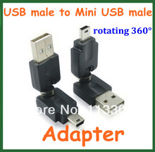 5pcs USB 2.0 Male to Mini USB Male Converter 360 Degree Rotation Angle Extension Adapter Adaptor Connector