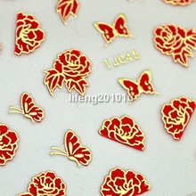 6PCS Hot stamping Gold 3D Nail Art Sticker Decals Beauty Nail Decoration Tools Red Flowers Design TJ045