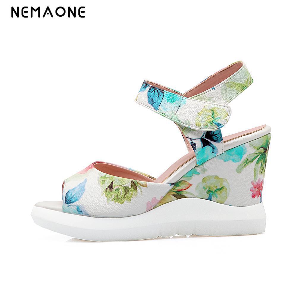 NEMAONE women gladiator sandals 2017 High heel sandals gladiator sexy wedge sandals buckle ladies office sandals<br>