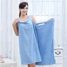 Sexy V Neck 80x155cm Women Bath Towel Soft Wearable Beach Towel Super Absorbent Bath Gown Fast Drying Magic Bath Towel(China)