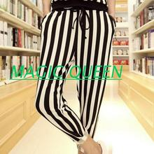 Europe and the United States summer new black and white striped casual small feet pants large size fashion men clothing/27-42