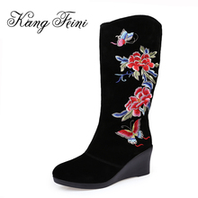 KANG FEINI 2017 Knee-high Genuine Cow Leather Snow Boots Ethnic Embroidery Butterfly Platform Wedges High Heels Shoes Woman(China)