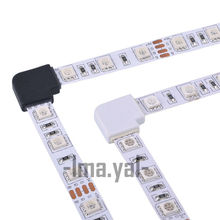 2017 NEW 5PCS 4 pin LED Connector L Shape For connecting corner right angle 10mm 5050 LED Strip Light RGB Color(China)