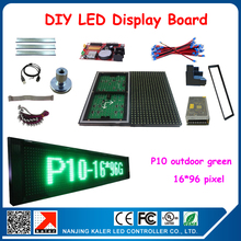 Outdoor p10 green color waterproof programmable advertising led display board support multi-language 24*104cm