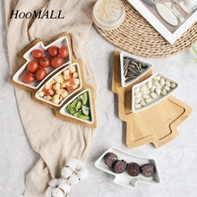 Hoomall 4Pcs/Set Ceramic Plates Snacks Candy Cake Fruit Porcelain Gingerbread Dishes Christmas Tree Decoration New Year Tray(China)