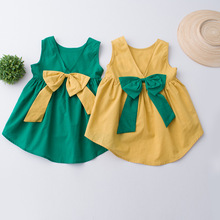 Everweekend Girls Asymmetrical Ruffles Bow Dress Cute Baby Yellow and Green Color Summer Holiday Dress
