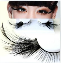 1 pairs Black Feather stage exaggerated false eyelashes Arts / Eyelashes masquerade / party nightclub YM77