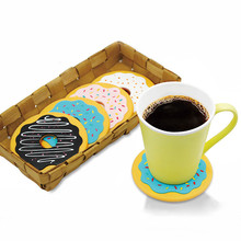 4 units/Colorful package Anti-slip Vinyl Mug Glass Coaster Projects Donut Coaster Set table placemats Insulating Silicone Mat(China)