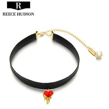 Hot New Fashion Red Heart Crystal Neck Short Chain Necklaces For Women Girl Party Necklace Jewelry Wholesale Free Shipping