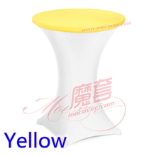 Yellow colour spandex high bar table top cover lycra table top cover for wedding banquet and party cocktail table decoration