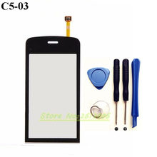 Original High Quality For Nokia C5 03 C5-03 Touch Screen Digitizer Sensor Front Glass Lens panel + tools