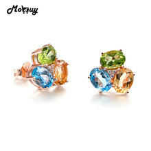 MoBuy MBEI037 3-Colors Oval Gemstone Citrine Topaz Peridot Stud Earrings 925 Sterling Silver Jewelry Rose Gold Plated  For Women