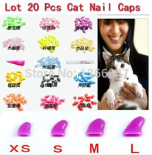 wholesale Hot sale New 20pcs Soft Cat Pet Nail Caps Claw Control Paws off + Adhesive Glue Size XS S M L 14 Colors Available