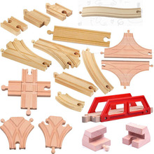 Thomas and His Friends -18PCS T Track S Track Kids Wooden Train Toys Train Wood Railwy Slot Beech Wood Track Set fit Thomas(China)