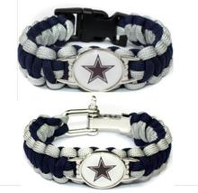 6PCS Paracord Survival Bracelet Football Cowboys Team USA Sport Fans Football Bracelets Friendship Bracelet(China)