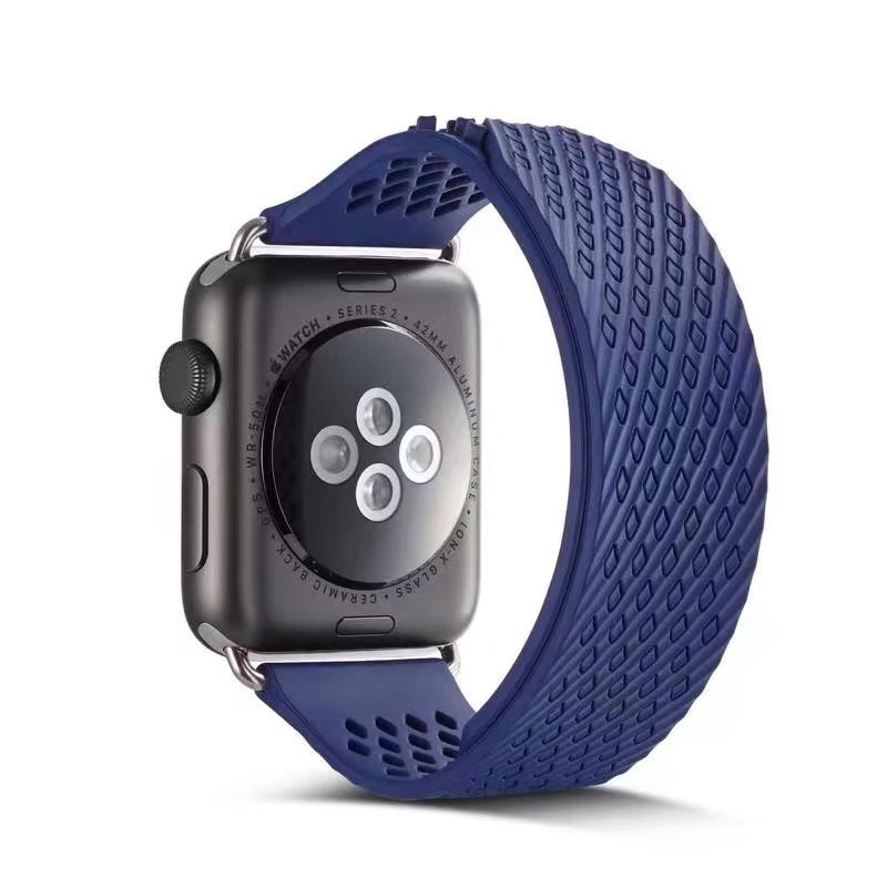 band for apple watch series 1 2 fluoroelastomer strap for iWatch Soft Silicone Replacement sport band no buckle design<br>