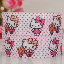 "50 yards 7/8 "" 22 mm pink heart background hello kitty and bear pattern print grosgrain tape cartoon ribbons"