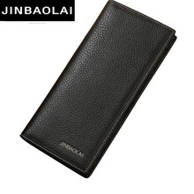 JINBAOLAI Genuine Leather Men Wallets Solid Sample High Quality Clutch Bag Male Purse Quality Leather Card Holder Wallet  8039C