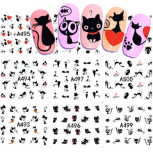 12 Designs Water Transfer Nail Art Sticker And Decal Summer Designs Cartoon Cat Set Cute Slider Tattoos Manicure SAA493-504(China)
