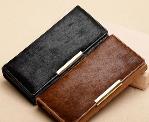 2015 Made of high quality Genuine leather &amp; Real horse hair purse New Fashion Solid Female Wallet Women Clutch Change Purses<br><br>Aliexpress
