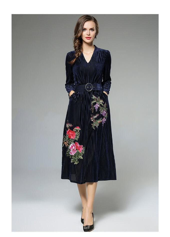 Heavy Embroidery Women Dress High-End Fashion Celebrity-Inspired Dresses Long Sleeve Autumn Robe Belted Vintage Style Vestidos (2)