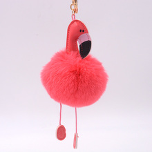 2017Cute Cartoon Flamingo Pom Pom Keychain Lovely Fluffy Artificial Rabbit Fur Ball Key Chain Animal Bird Women Car Bag Key Ring