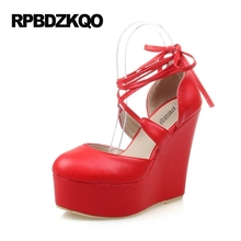 Ankle Strap Wedge Red Ultra Round Toe High Heels Cheap Gladiator Modern Platform Cross Shoes Fetish Pumps Women Super Thin 12cm(China)