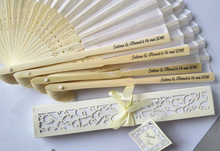100pcs/lot  Personalized Luxurious Silk Fold hand Fan in Elegant Laser-Cut Gift Box  +Party Favors/wedding Gifts+printing