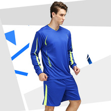 New Men Long Sleeve Soccer Sets Adults Sports Running Training Suit Male Football Jersey Shorts Kit Competition Team Uniforms(China)