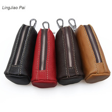 LingJiao Pai Men Genuine Cow Leather Bag Car Key Wallets Fashion Women Housekeeper Holders Keychain Zipper Key Case Pouch(China)