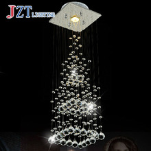 T Luxury Crystal light Simple Creative Modern pendant light for Living Room The Stairs Rectangular&Pyramid 3W Length20Height74cm(China)