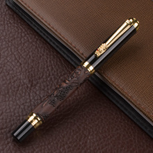 891 Brown Color 3D Pattern Chinese Dragon Golden Clip roller ball pen With M Nib For Antique Gift