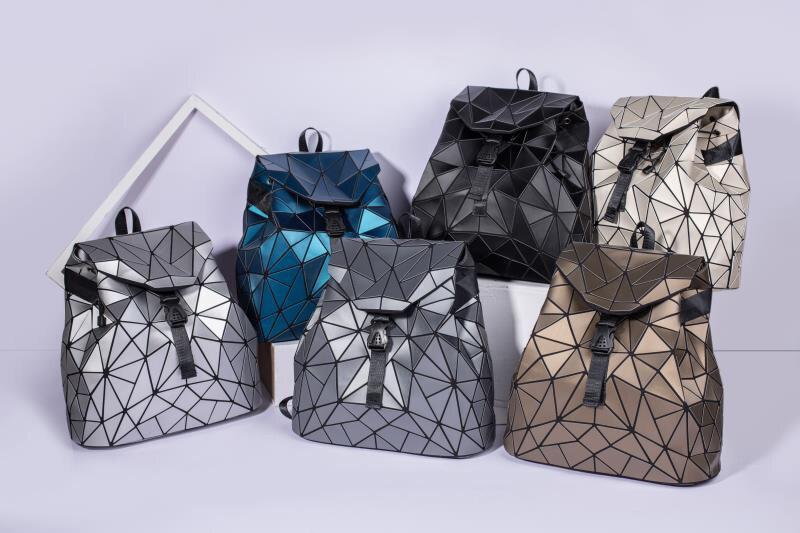 Women Drawstring Geometric Folding Large Capacity Backpack