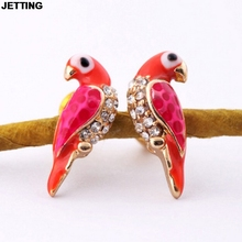 JETTING Loverly Animal Red Bird Ear For Women Wholesale Christmas Gifts New Sale Fashion Charms Crystal Earrings