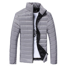 Winter Coat Men Solid Collar Stand Collar Coats Zipper Slim Park Coats Casual Veste Homme Brand Clothing Mens Tops Fashion(China)