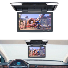 "General 15.5"" inches TFT LCD Panel DC 12V Bus Ceiling Car Flip Down Overhead Monitor with Double Video Inputs"