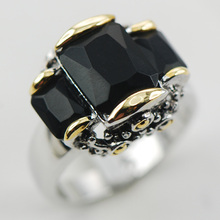 Black Onyx 925 Sterling Silver Ring Size 6 7 8 9 10 F999(China)