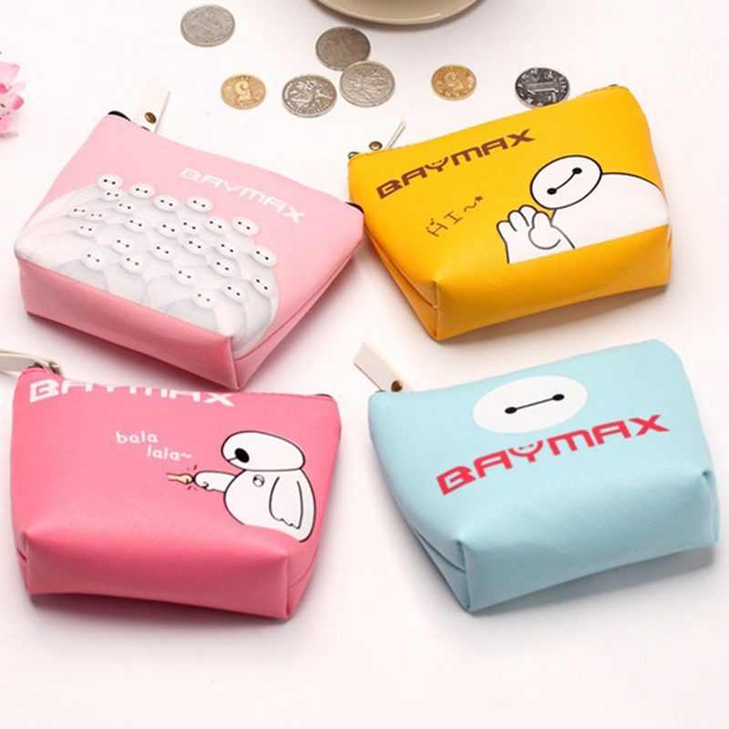 New Promotion Women PU Artificial Leather Character Wallet Fashion Coin Bag Baymax Zipper Purse Lovely Key Purse Pouch<br><br>Aliexpress
