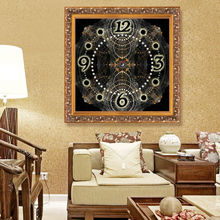 Zodiac home decor Diamond Embroidery wall clock wall watches decoration Diamond Painting Cross Stitch painting calligraphy(China)