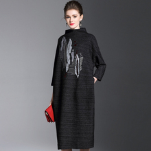 Buy 2017 Autumn Winter Sweater dress Europe fashion Brand Women Loose dresses High 3/4 sleve Elegant Embroidery dress for $43.15 in AliExpress store