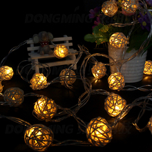 3m Rope Lights Wedding Party Hand Weaved Rattan Ball Lantern Christmas Decoration Ornaments  (Mix Color)