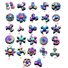 50 pcs/lot Rainbow Colorful Metal Antistress Finger Fidget Spinner figet skull Fidget Hand Spiner Classic Toy Spinning Top dhl(China)